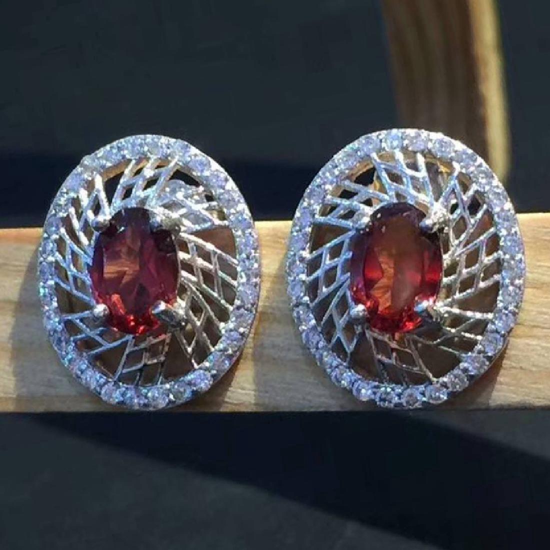 Sterling Silver Garnet Zircon Earrings, 2ctw