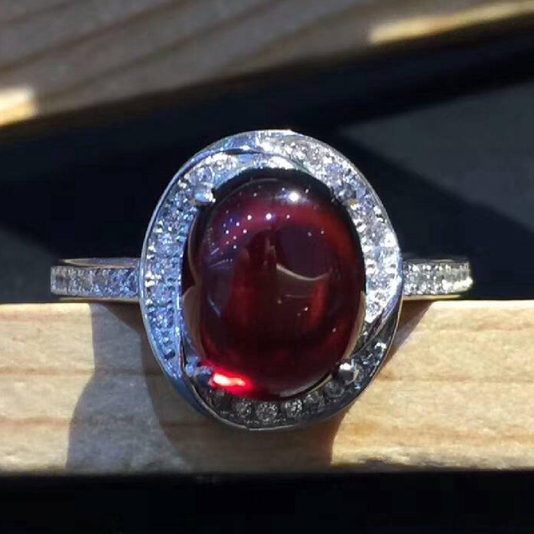 Sterling Silver Garnet Zircon Ring, 3ct