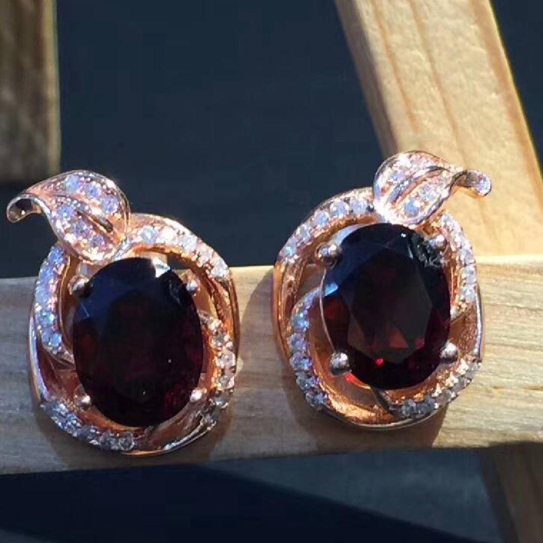 Sterling Silver Garnet Zircon Earrings, 3ctw
