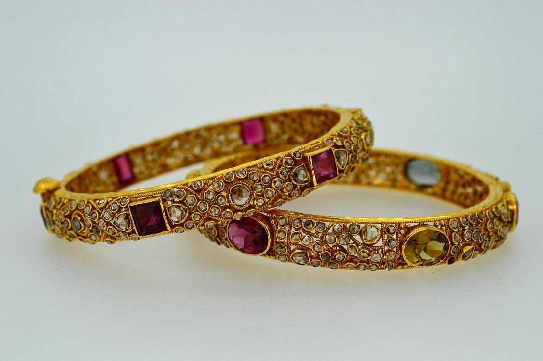 Vintage Pair 22K Gold Garnet Diamond Bracelets, 8ctw