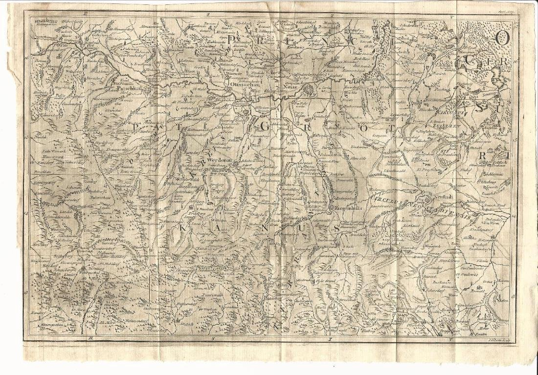 1760 Folding Map of Eastern Europe