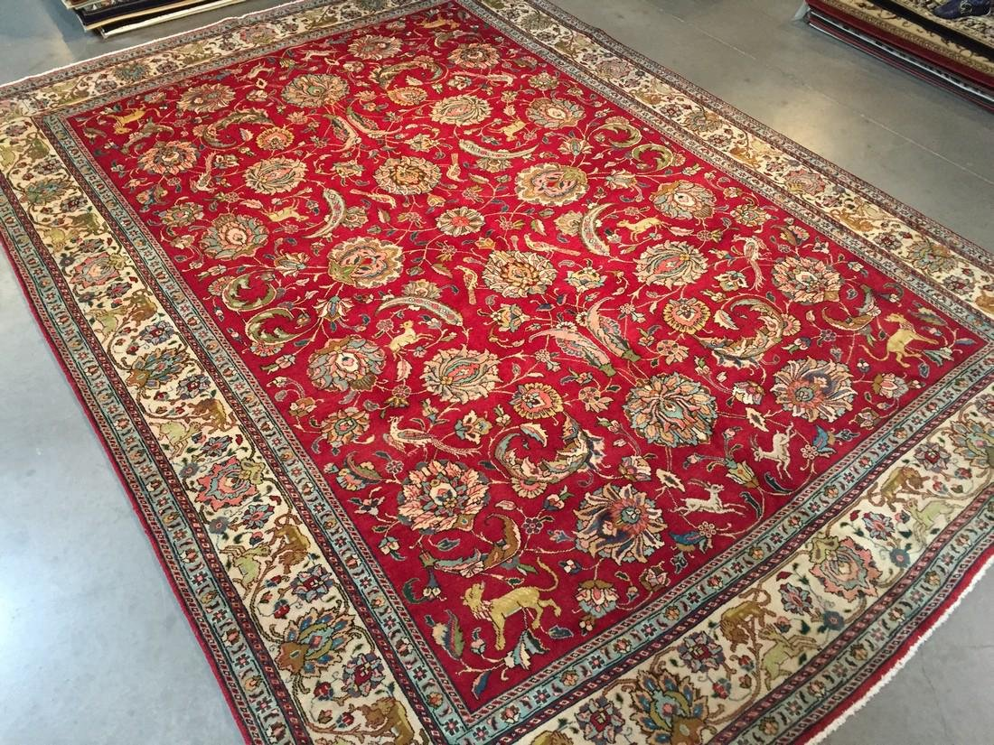 "Authentic Persian Hunting Seen Tabriz Rug 9'.4""x13'"