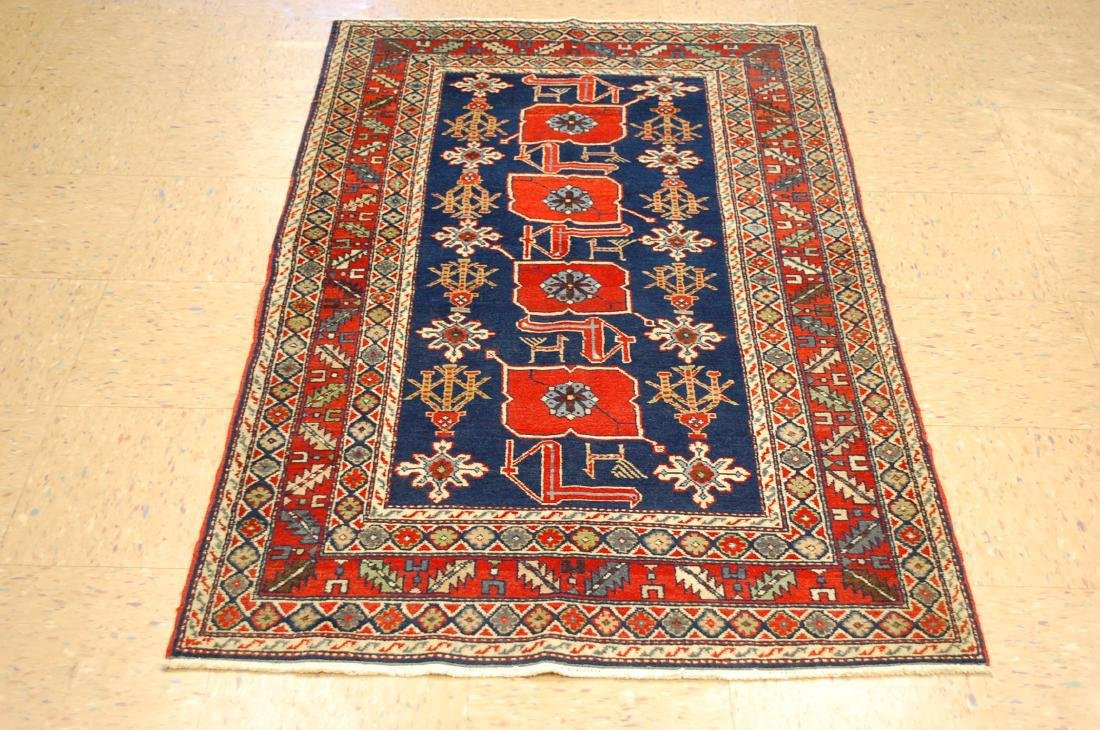 Vintage Caucasian Shirvan Kazak Design Rug 3.3x5.3