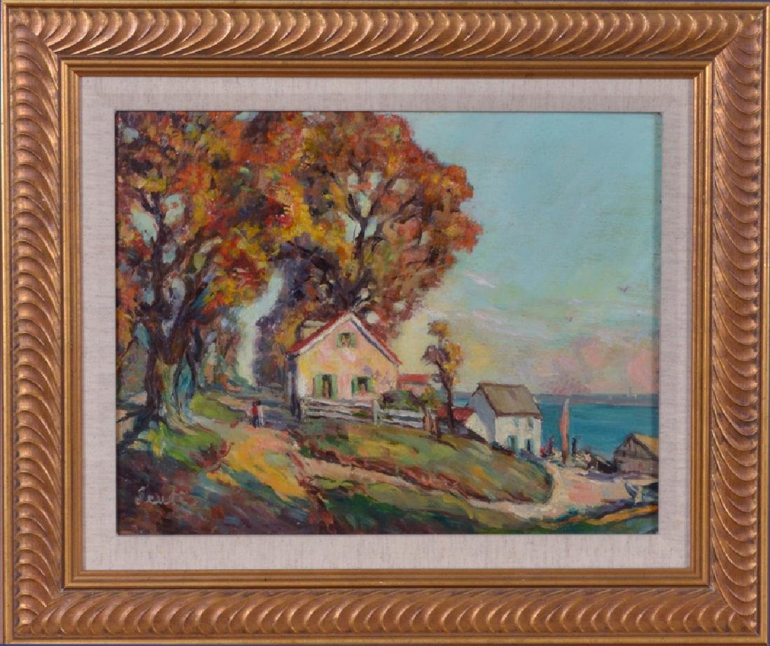 20th Century American School Painting Seaside Cottages