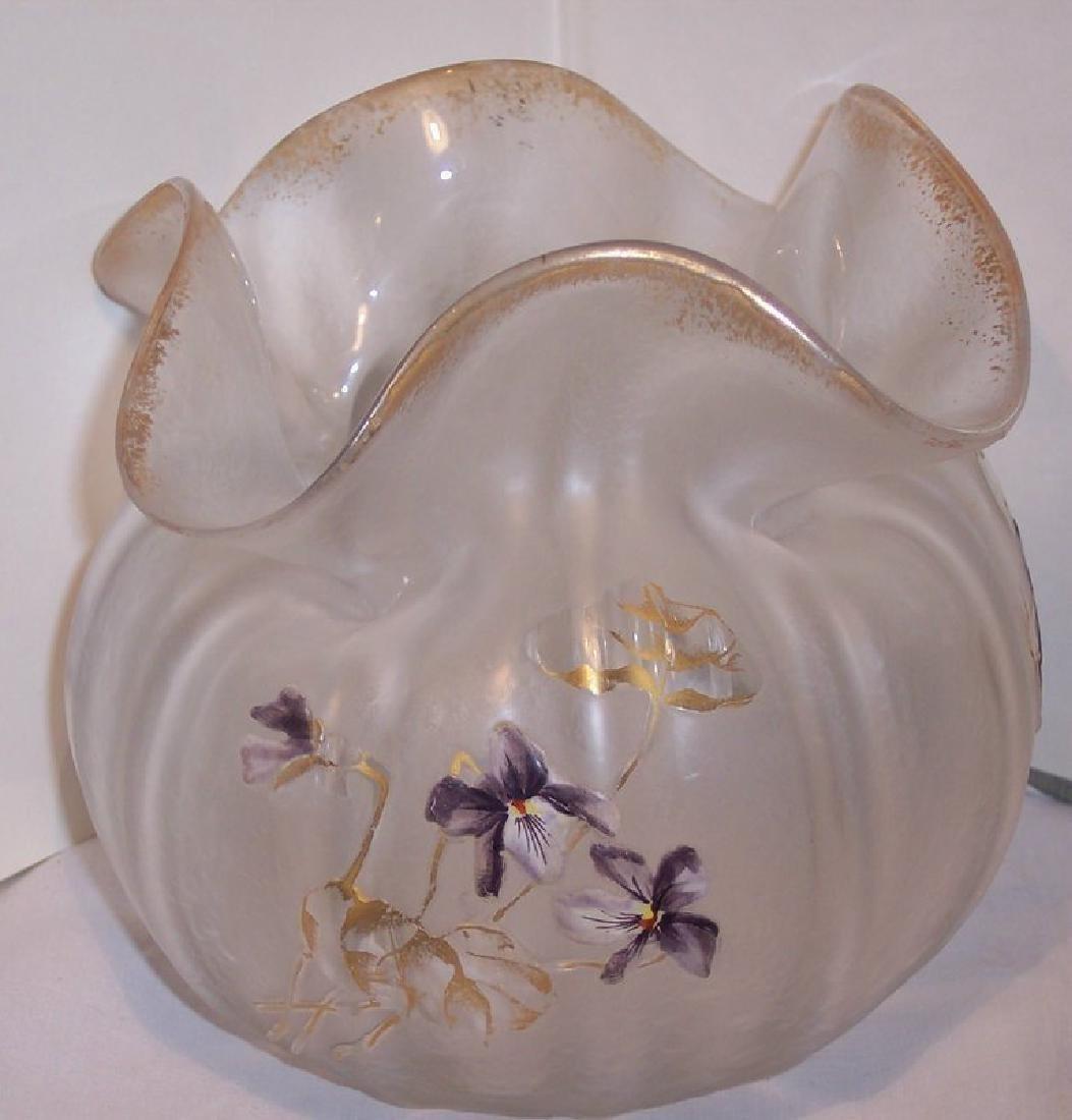 French Cameo Art Glass Enameled Violets Art Nouveau