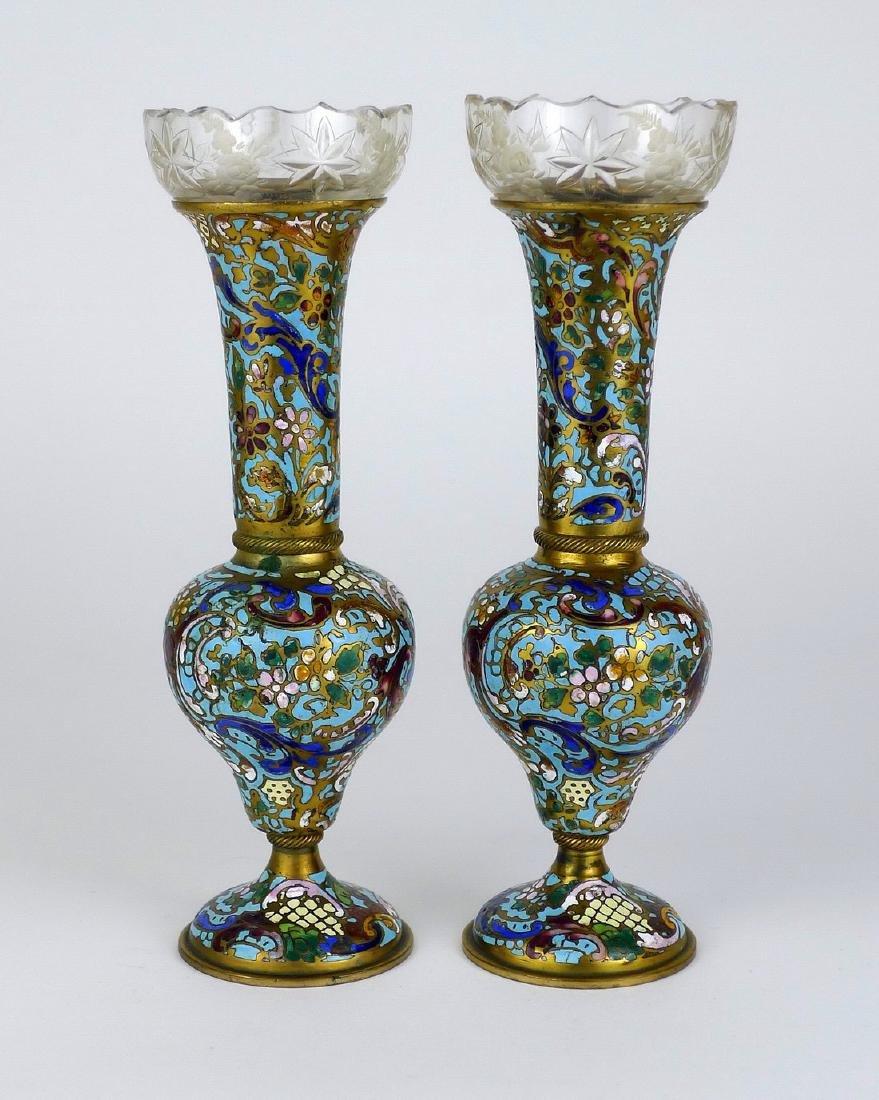 French Champlevé Cloisonné Vases