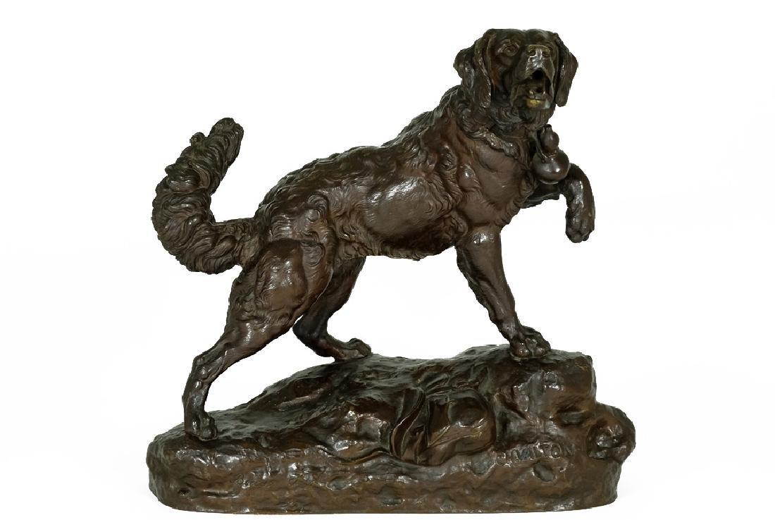 Charles Valton Bronze Sculpture a Saint Bernard Dog