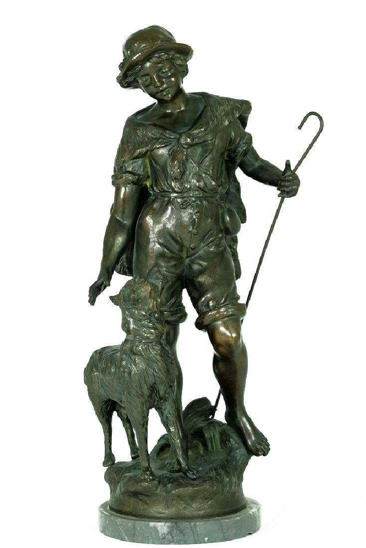 L&F Moreau Spelter sculpture of Shepherd with Dog