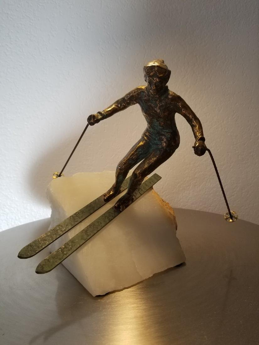 Curtis Jere Bronze Skier Sculpture Marble Base