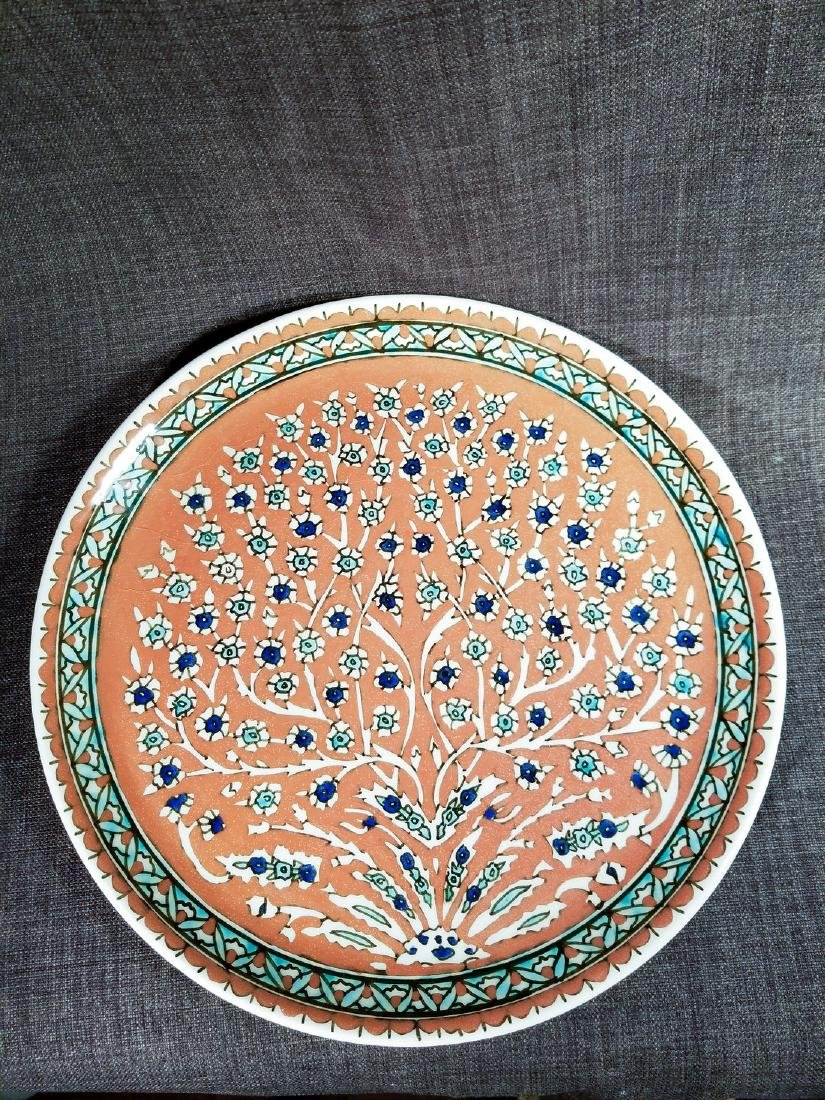 Hand Painted Turkish Pottery Plate Signed Ertan Gini
