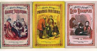 LOT of 3 1873 ISAAC WATT SONGS MORAL RELIGIOUS SONG
