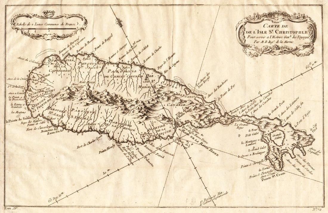 Bellin: Antique Map of Saint Kits, 1754
