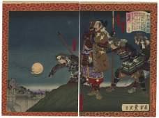 Toyonobu Utagawa Woodblock Samurai Playing Music