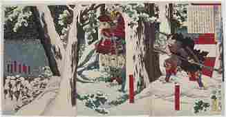 Toyonobu Woodblock Battle in the Snow