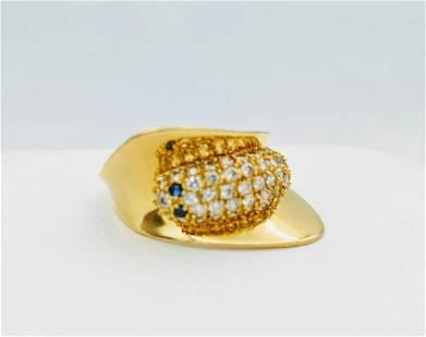 21K Gold White Blue Sapphire Figural Caterpillar Ring