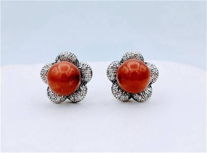 Sterling Silver Jadeite Cubic Zirconia Earrings