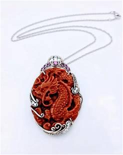 Sterling Silver Jasper Amethyst CZ Dragon Necklace