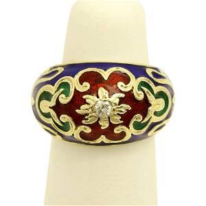 Vintage 14K Gold Enamel Diamond Ring