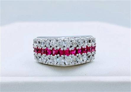 Sterling Silver Pink Sapphire Cubic Zirconia Ring 108c