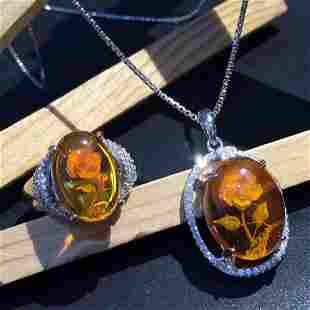 Sterling Silver Amber Zircon Jewelry Set