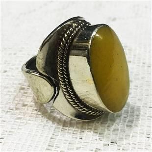 Tibetan Silver Amber Handmade Ring