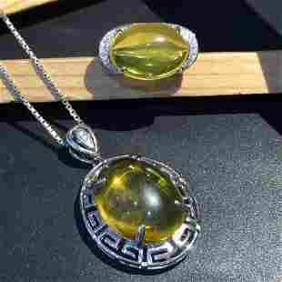 Sterling Silver Amber Zircon Jewelry Set 9ct