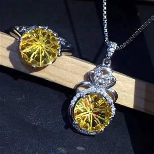 Sterling Silver Citrine Zircon Jewelry Set 4ct