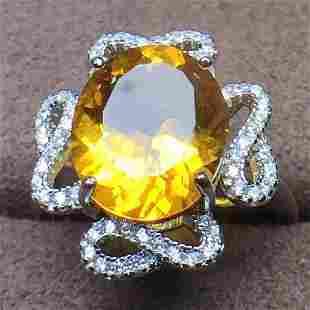 Sterling Silver Citrine Zircon Ring 4ct