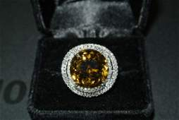 18K White Gold 19.86ct Alexandrite 1.3ctw Diamond Ring