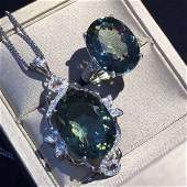 Sterling Silver Green Quartz Zircon Jewelry Set, 10ct