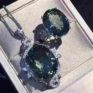 Sterling Silver Green Quartz Zircon Jewelry Set 10ct