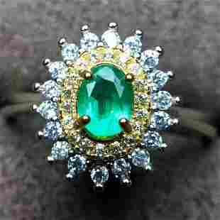 Sterling Silver Emerald Zircon Ring 05ct