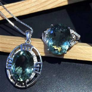 Sterling Silver Green Quartz Zircon Jewelry Set 7ct