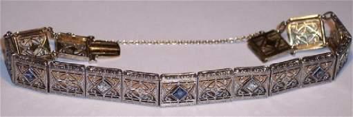 Antique 14K Gold Platinum Diamond Sapphire Bracelet