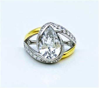 Sterling Silver Gold Tone Cubic Zirconia Ring, 3.43ctw