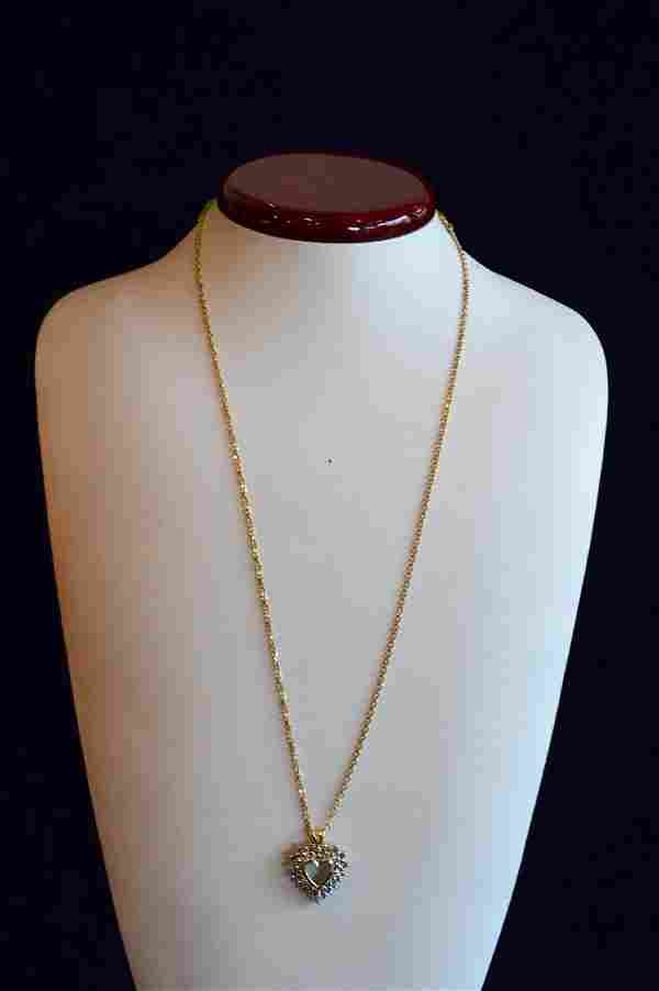 14k White Gold Diamond Heart Pendant Necklace, 1.08ctw