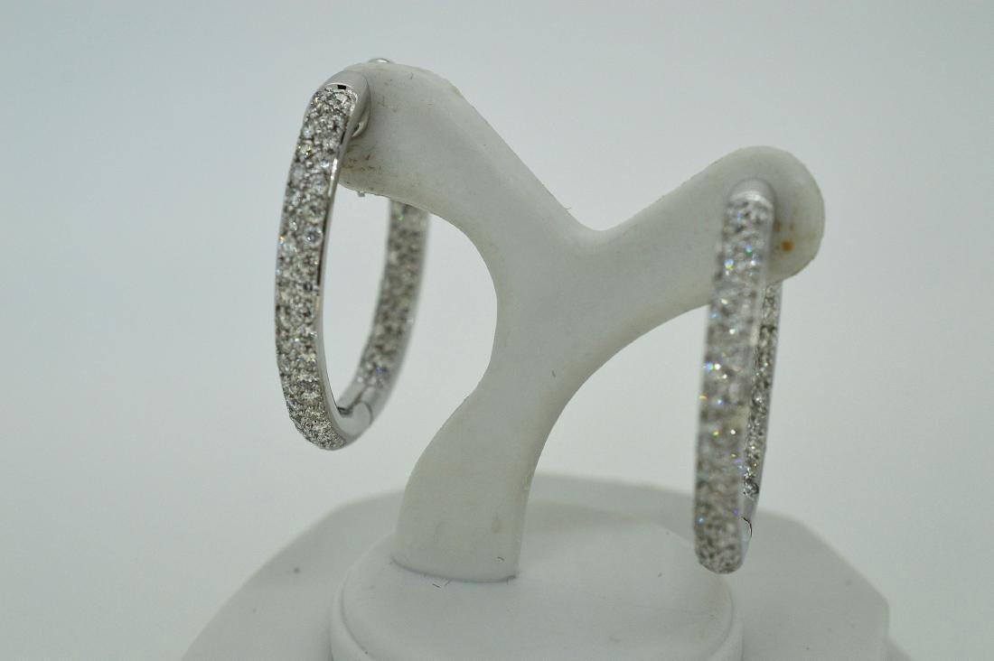 Ladies 14k White Gold Diamond Hoop Earrings, .75ctw