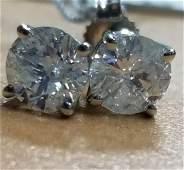 14K White Gold Diamond Stud Earrings, 1ctw