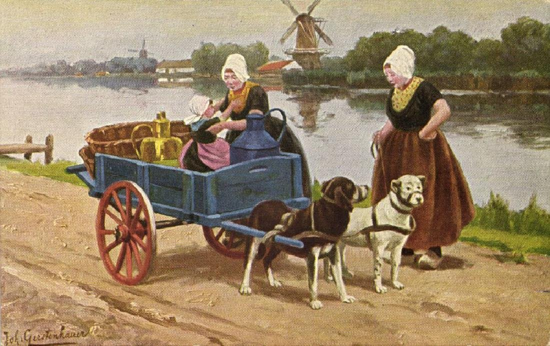 Lot of 8 Postcards of Dog Cart, Working Dogs - 5