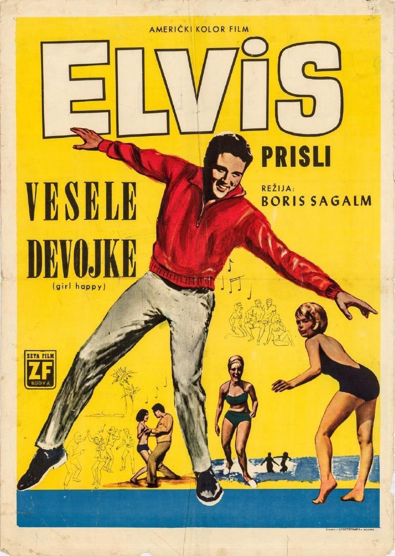 1965 Elvis Presley Film Girl Happy Yugoslavian Poster
