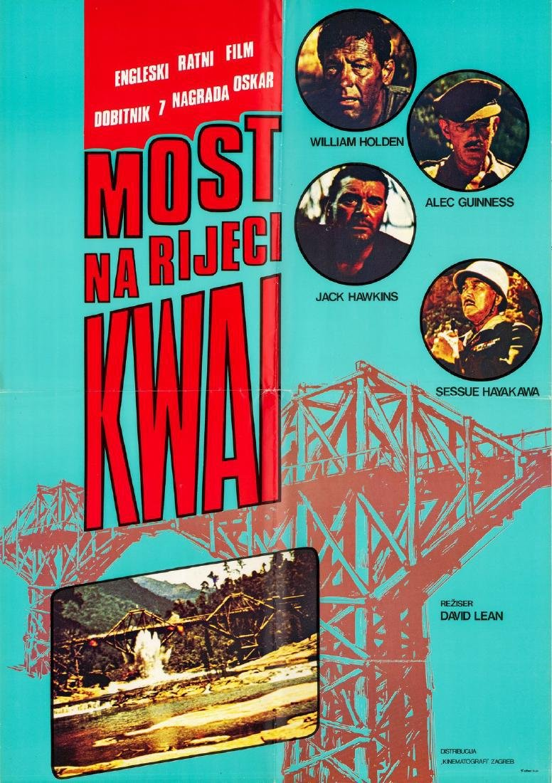 1957 Film the Bridge River Kwai Yugoslavian Poster