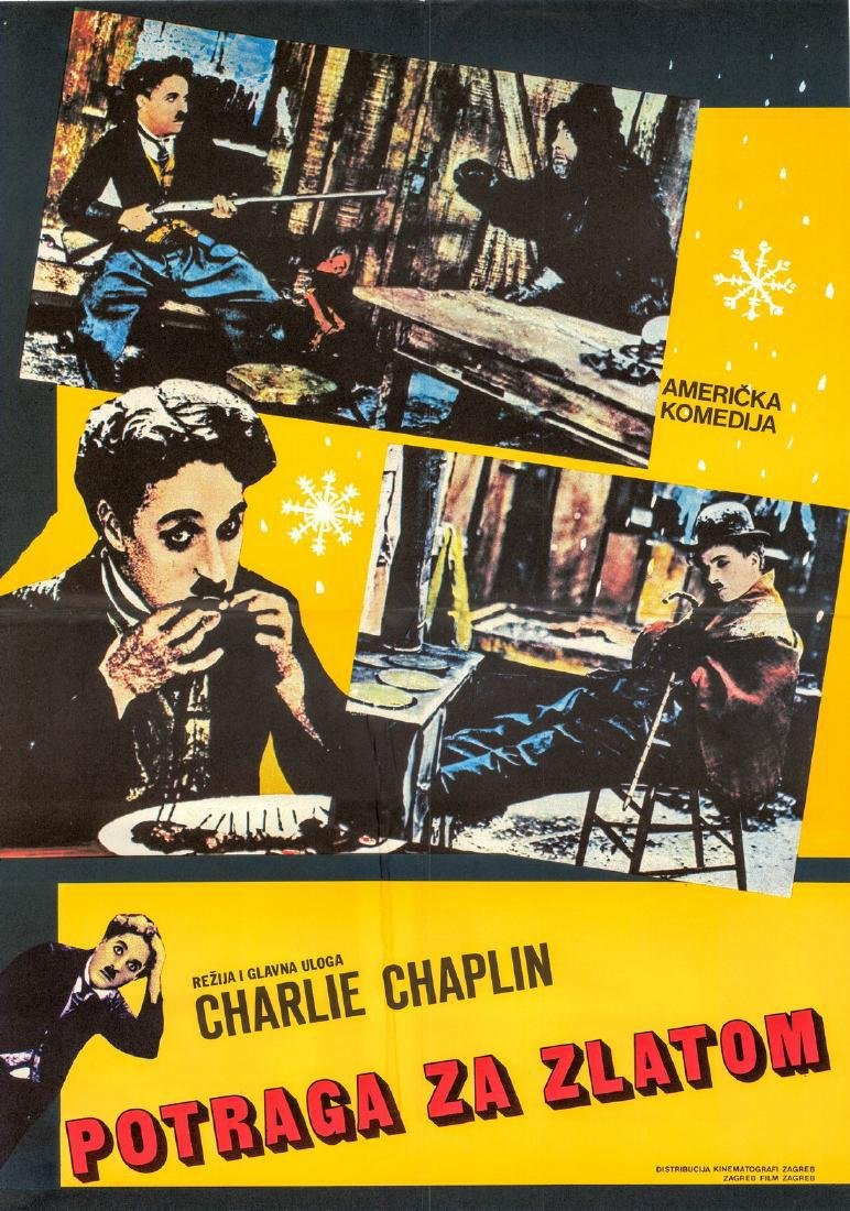 1970s Chaplin's the Gold Rush Yugoslavian Poster