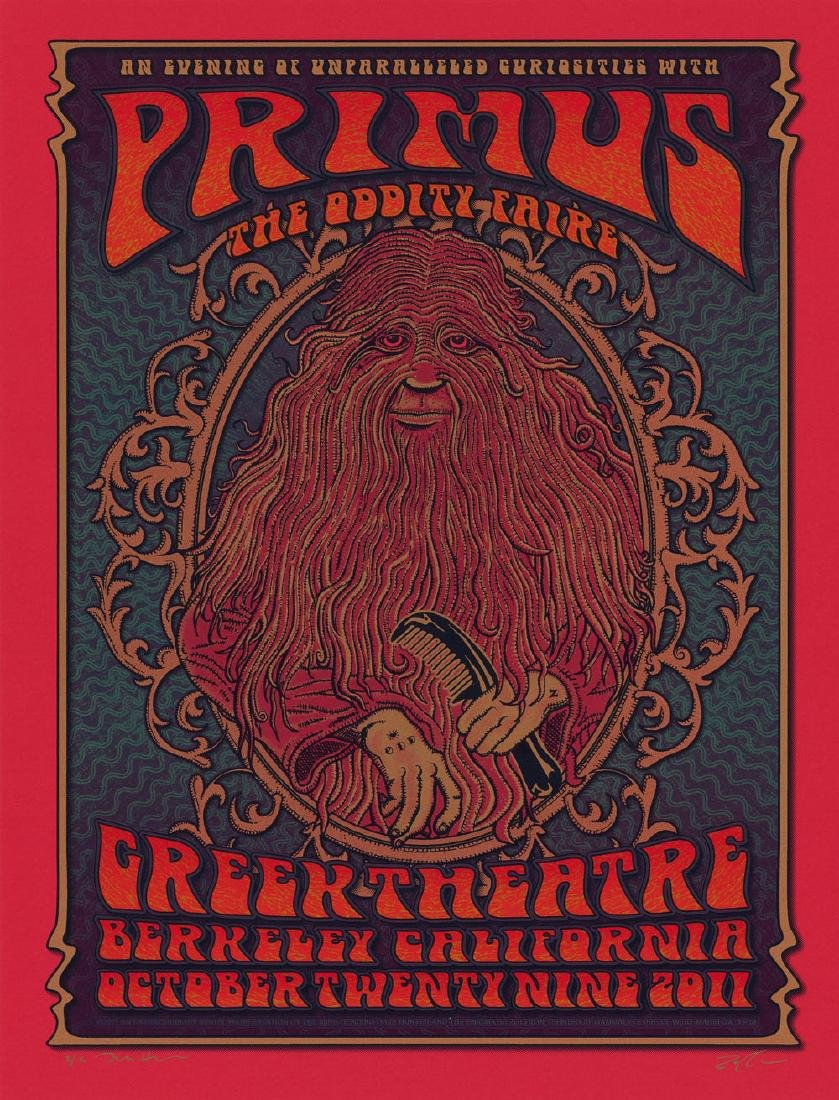 Rare 2011 Primus Poster Red Variant by Dave Hunter and
