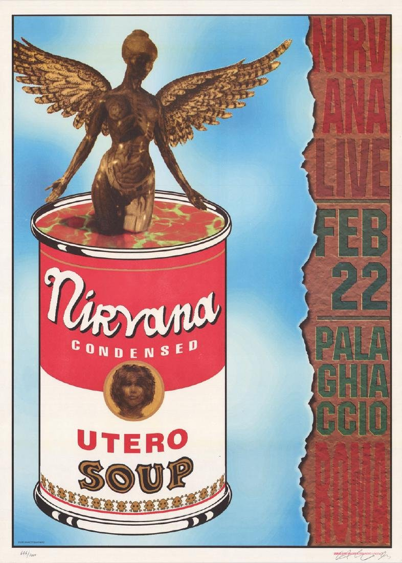Rare 1994 Nirvana Utero Soup Rome Poster