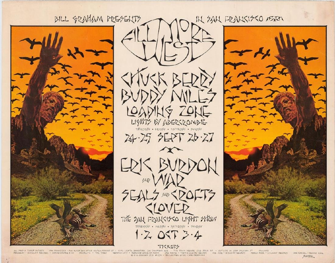 1970 Bill Graham Poster Featuring Chuck Berry and Eric
