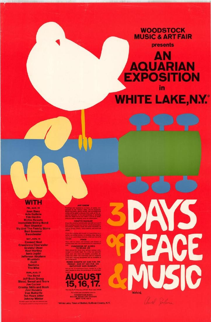 Rare Signed Original 1969 Woodstock Poster