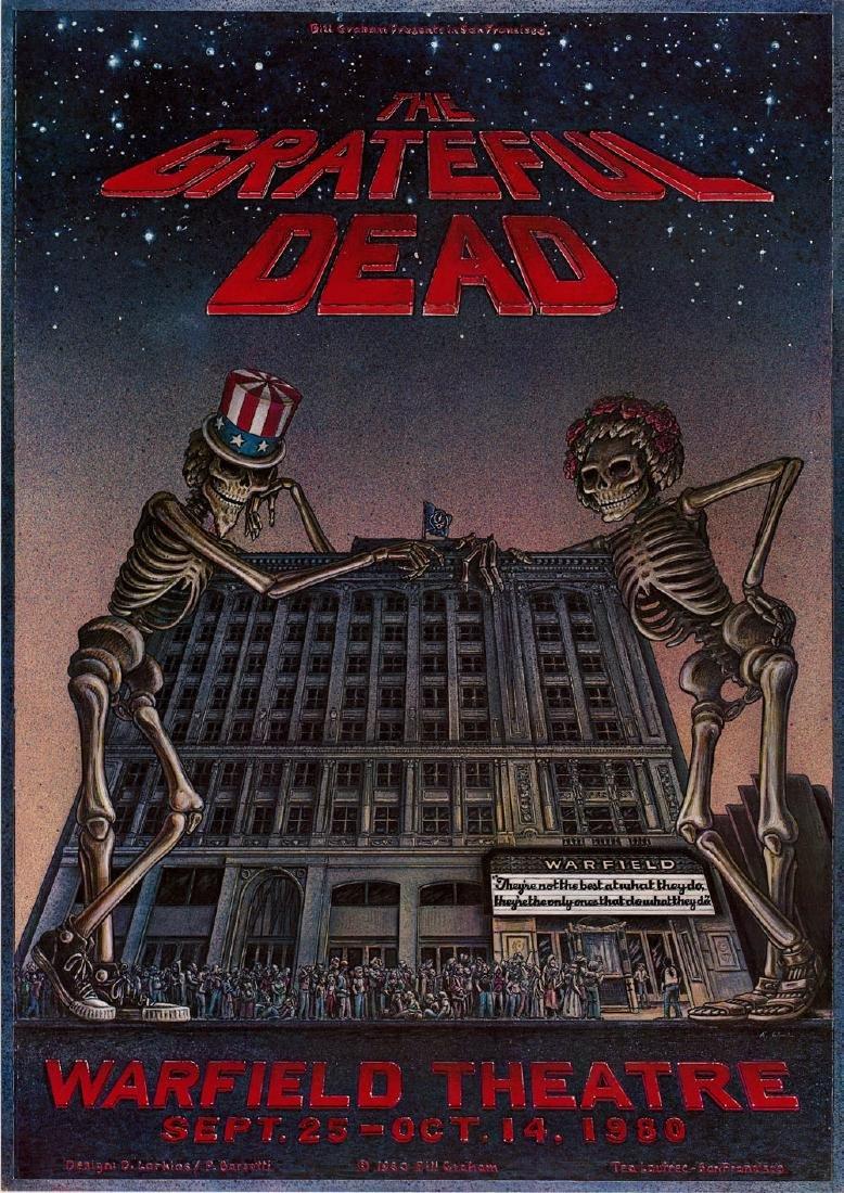 Cool 1980 Grateful Dead Warfield Theater Poster