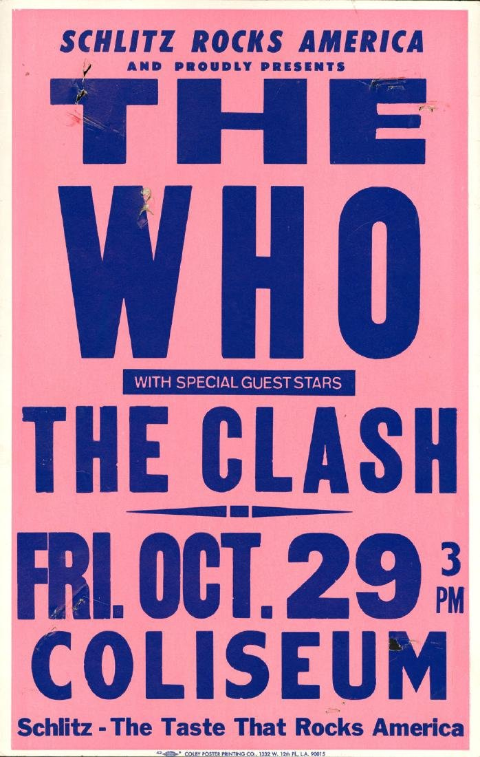 Rare 1982 The Who and The Clash Poster
