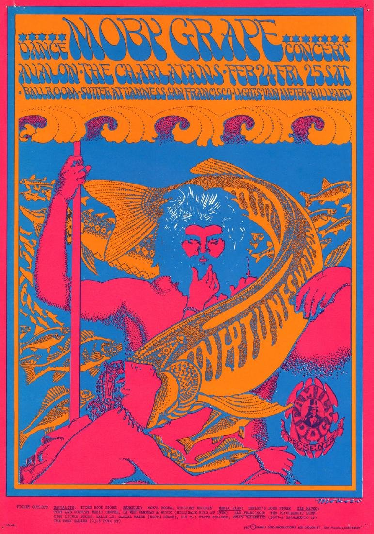 Scarce Original FD-49 Moby Grape Poster