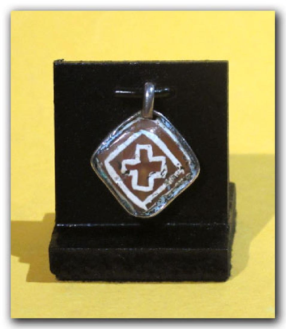 Byzantine Silver and Etched Cornelian Pendant